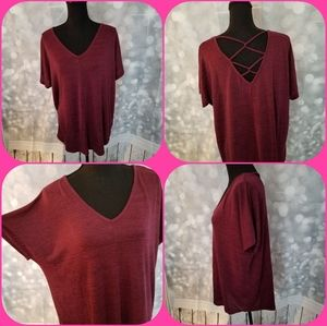 Ana Heathered Wine Short Batwing Top